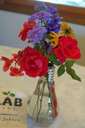 Flowers in bulb vase
